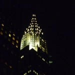 Chrysler Building view at night from hotel room