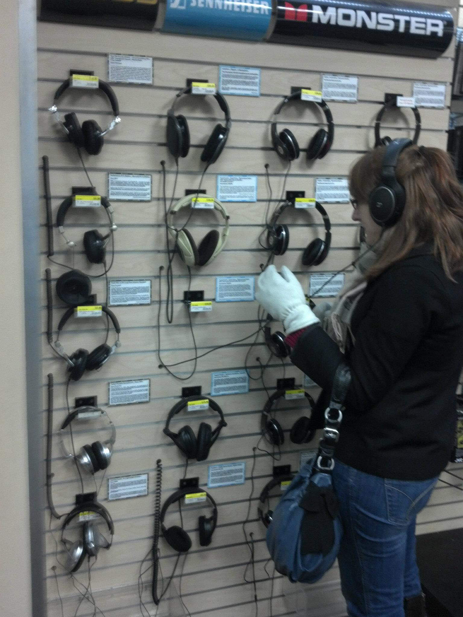 Holly noticed the difference between the expensive headphones and the cheaper ones! ♥