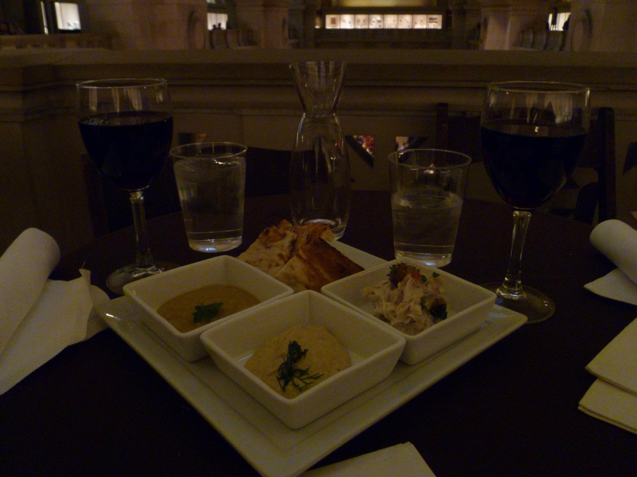 Wine and hummus plate in the museum!